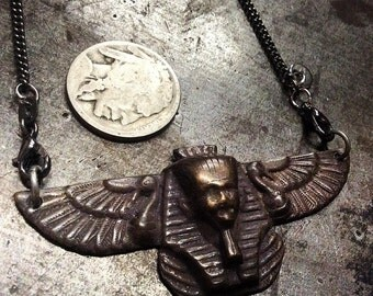 AntiQueD BraSS VintaGe stamped Egyptian Pharoah Sphinx Ibis Thoth Finding on AntiQued SterlinG Chain Necklace