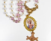 Handmade Religious Icon Virgin Mary Image Gold & Pink Crystal Pearl Copper Crucifix Necklace Vintage