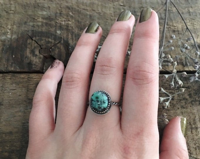 turquoise stacking ring, .925 sterling silver jewelry, unique engagement ring for bohemian wedding, anniversary present for wife, size 6