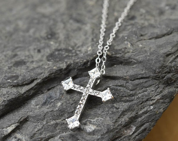 Cross Necklace, Cross Pendant, 925 Sterling Silver, Crystal Necklace Pendant, Bridesmaid Gift, Bridesmaid Necklace
