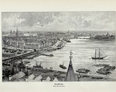 1898 ANTIQUE STOCKHOLM PRINT, 10 X 6 Inches Vintage Lithograph