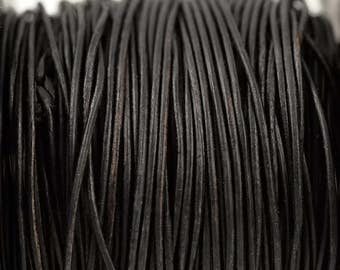 1mm Natural Dark Brown Leather Cord - Distressed Matte Finish