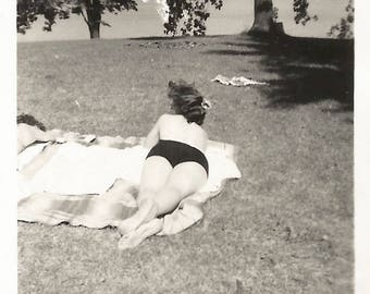 "Vintage Snapshot ""The Stalker"" Topless Woman Photographer Shadow Swimsuit Rear Back View Sunbathe Tan Found Vernacular Photo"