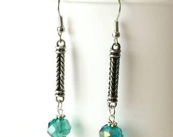 Teal Earrings, Glass Czech Beads, Modern Earrings, Dangle Earrings, Rope Design, Handmade