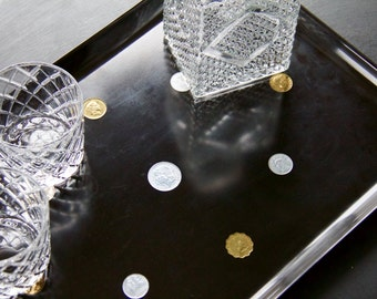 Vintage Mid-Century Couroc of Monterey Black International Coin Serving Tray