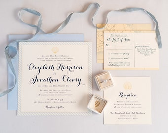 Nautical Beach Wedding Invitation