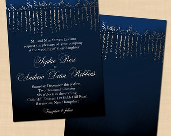 Blue Hour Gold-Foil-inspired City Skyline Wedding Invitation (5x7, Portrait): Text-Editable in Microsoft® Word, Printable Instant Download