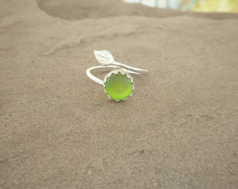 Genuine Beach Sea Glass Sterling Silver Adjustable Ring - Lime Sea Glass
