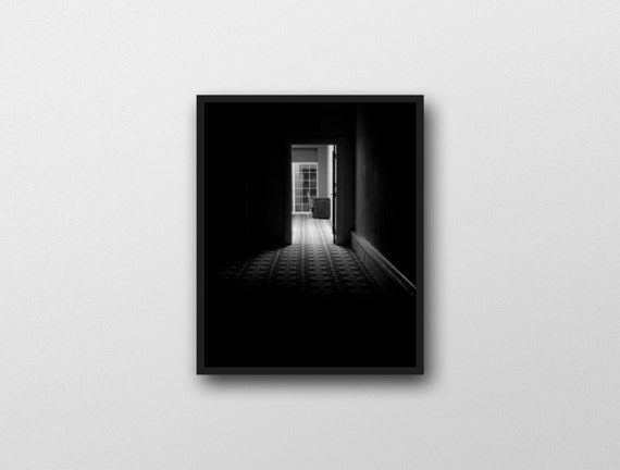 DARK PASSAGE | Black and white noir photography | horror wall art | dark home decor | modern fine art photo | film noir inspired art print
