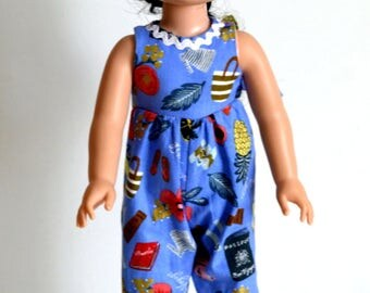 """14.5"""" Doll Clothes, Fits Wellie Wishers, 14.5"""" Doll Periwinkle Blue One Piece Romper, Doll Hair Accessory, 2 French Clip,Fabric & Vinyl Bows"""