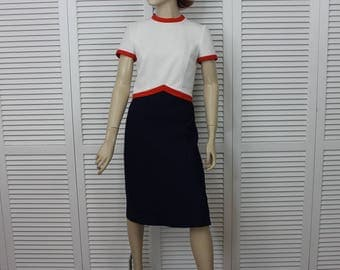 Vintage Lilli Ann 60s Navy/White/Orange Set | Dress and  Coat | Rare Size Small