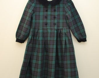 SALE! Laura Ashley dress, age 3 years, blue green plaid, vintage girls dress 1990s, Mother and Child label