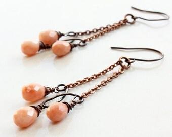 Orange-Peach Jade Earrings, Copper wire wrap earrings,  artisan earrings, chain chandelier earrings, modern dangle earrings, gift, 3357