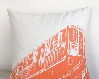 "18"" Chicago Orange Line pillow"