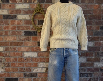 Ivory Wool Cable Knit Sweater