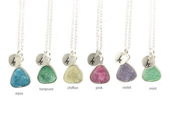 Druzy Necklace with Initial | Handstamped Initial Necklace | Layering Necklace | Gifts for Her | Ships in ONE Day