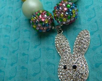 "Easter White Bunny Rhinestone Pendant Chunky Ball Chain 24"" Bubblegum Bead Necklace **Ready to ship**"