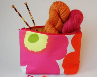 Marimekko Mini Unikko Pouch in Yellow Pink and Red Small