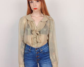 Sheer Metallic Gold Ruffled Victorian Romantic Long Sleeve Button Blouse Top // Women's size Small S