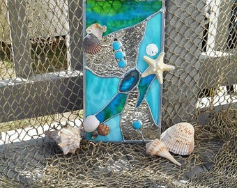 Sun Catcher for beach lovers embellished with seashells, starfish and sand dollars!
