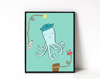 Nautical Nursery Wall Art - 8x10 - Octopus Illustration - Kids Room Decor - Welcome Baby - New Baby - Childrens Art - Kids Ocean Wall Art