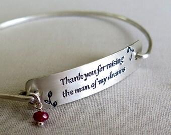 SALE Mother In Law, Wedding, Bride, Mother's Day Gift, Sterling Silver Bracelet, Bangle Bracelet, Wedding Gift, Gift from Bride