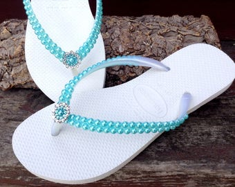 Custom Havaianas Slim Pearl flip flops Turquoise Aqua Tiff Blue w/ Swarovski Crystal Silver Filigree Bridal Bridemaid Beach Wedding shoes