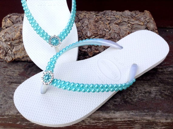 Custom Havaianas Slim Pearl flip flops Turquoise Aqua Tiff Blue w/ Swarovski Crystal Silver Filigree Bridal Bridemaid Beach Wedding shoes