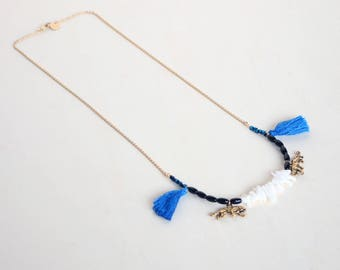 Tiger tassel necklace with semi precious stones and thin golden chain for women / Stone necklace