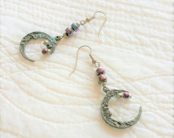 Vintage Bohemian Oversized Plum Bead and Textured Brass Moon Dangle Earrings, Olives and Doves