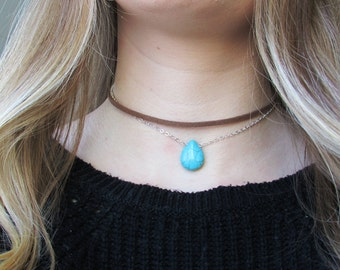 Turquoise Teardrop Layered Choker Necklace