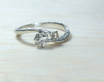 Dainty engagement ring Engraved engagement ring Twisted engagement ring