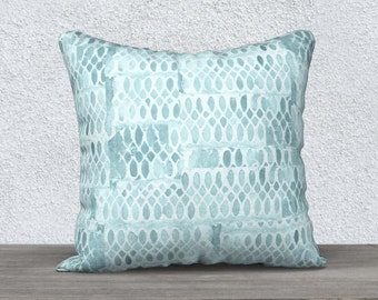 Aqua Pillow, Aqua Pillow Case, Aqua Throw Pillow, Turquoise Pillow, Velveteen Pillow, Aqua Decor, Aqua Lumbar Pillow, 14x20, 18x18,