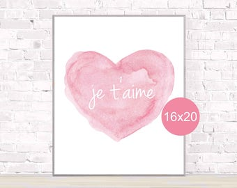 French Poster, Je t'aime Print, 16x20, Heart Poster, Pink Girls Poster, Pink Nursery Poster, Girls Decor, Little Girls Room, Girls Bedroom