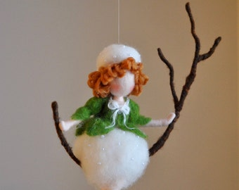 Wall Hanging Fairy Waldorf inspired Room Decoration : Waiting the Spring