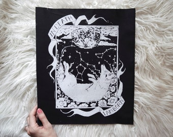 Original Hand carved Block Print sew-on back patch in Black Canvas by MoonGoddessMarket®