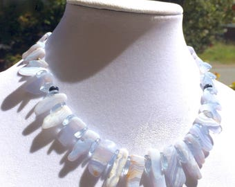 Blue Lace Agate necklace, light blue Agate necklace, light blue necklace, Blue Lace Agate slice necklace, stone necklace, free shipping