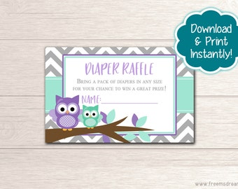 Printable Owl Baby Shower Diaper Raffle Card - Mint & Lavender Baby Shower - Cute Purple Owl Baby Shower Package - Instant Download - BS53