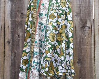 Vintage Wrap-Around Silk Skirt