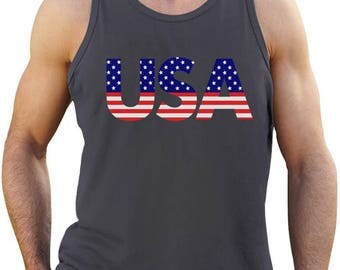American Flag USA Patriotic 4th of July - Men's Tank Top Singlet Sleeveless Shirt