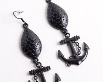 Glossy Black Enameled Pineapple and Anchor Earring with Matching Black Ear Wires or Your choice of Sterling Silver or Stainless Steel