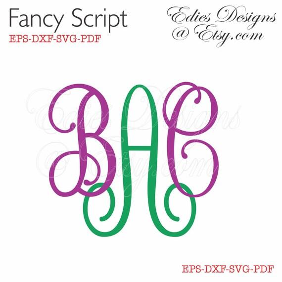SVG Monograms Fancy Script Monograms EPS DXF Digital