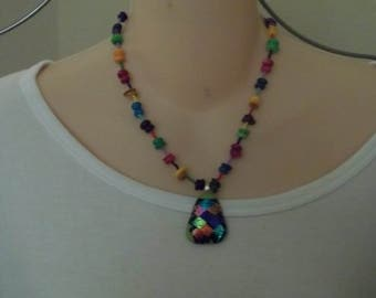 Multi-color dichroic glass pendant necklace