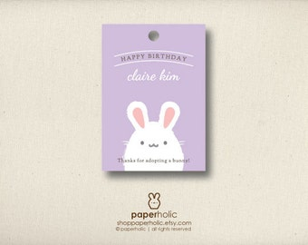 Personalized Some Bunny Birthday Tag | Hoppy Birthday Baby Shower Easter Label Sticker|  Printable White Rabbit Party Supplies for Kids