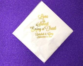 Love is Sweet Wedding Napkins, Custom Napkins, Personalized Napkins, Beverage Napkins, Bridal Shower, Wedding Favors, Dessert Bar