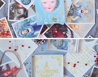 "Box of 25 photographs of art, box matryoshka painted handmade unique piece, mind Russian folklore / slave, model ""Winter fairy tale"""