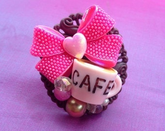 Cafe Cutie Kawaii Statement Ring, sweet lolita, girly, chunky, fairy kei, gyaru, Harajuku