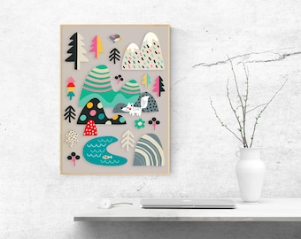 Woodland print - art print - forest animals Illustration - Illustration for kids - A4, A3, A2 size - kids room decor  - nursery decor