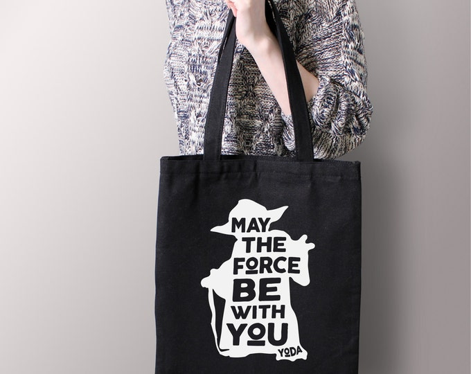 "Star Wars Black ""May The Force By With You"" Yoda Tote Bag - Star Wars Gift, Canvas Tote, Star Wars Geek Gift"