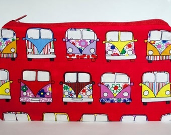 SALE, Red Pencil case, Hippy Gift, Gifts for him, Hippy Fabric, Hippy Gift, Camper van gift, Lined Pencil Case, Zipper Pencil case